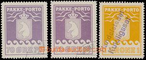 163579 - 1937 GRÓNSKO Mi.13 (2x), 14, balíkové PAKKE PORTO 70