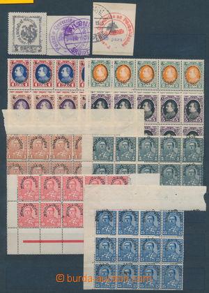 164315 - 1913-28 sestava známek na kartě A4, obsahuje mj. Mi.18-19 ra