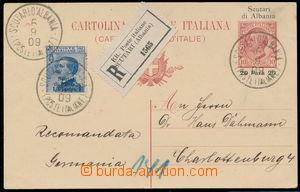 164370 - 1909 ITALSKÁ POŠTA V ALBÁNII  dofrankovaná celina 20P/10Cmi,