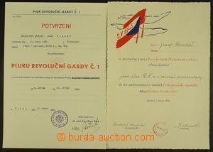 164682 - 1945 Pražské květnové povstání - sestava 2ks potvrzení pro ú