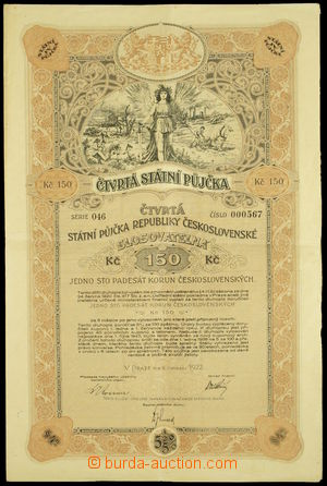 164684 - 1922 ČSR  dluhopis Čtvrtá státní půjčka republiky Českoslove