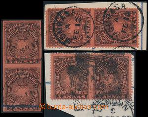 164945 - 1890 SG.8ab, 8ac, 8ad Slunce a Koruna 3 Anna černá/červená,