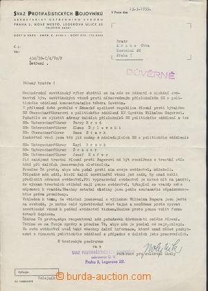 165015 - 1959 Svaz protifašistických bojovníků v Praze - důvěrný doku