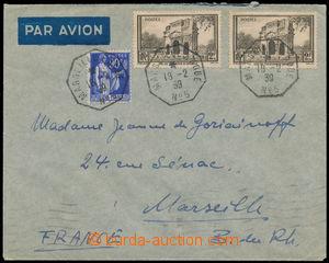 165057 - 1939 dopis do Marseille vyfr. zn. Mi.393 a 410 (2x), lodní r