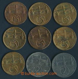 165789 - 1923-38 sestava 9ks mincí, 2h ročníky 1923 a 1924, 5h ročník