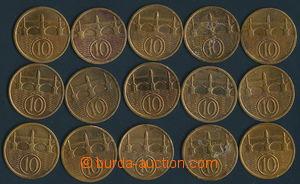 165790 - 1918-39 sestava 15ks mincí, hodnota 10h, ročníky 1922, 1923,