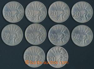 165791 - 1921-38 sestava 10ks mincí, hodnota 20h, ročníky 1921, 22, 2