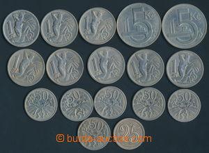 165806 - 1918-39 sestava 17ks mincí, obsahuje 25h ročník 1933; 50h ro