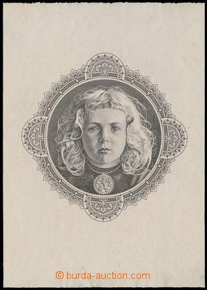166542 - 1932 HEINZ Bohumil  zkusmý tisk rytiny děvčátka pro Národní