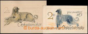 166623 - 1965 návrh známky M. Hánáka Afgánský chrt 2Kčs, Pof.1453, na