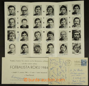 166913 - 1970-84 FOTBAL/  konvolut fotografií a dokumentů s podpisy č