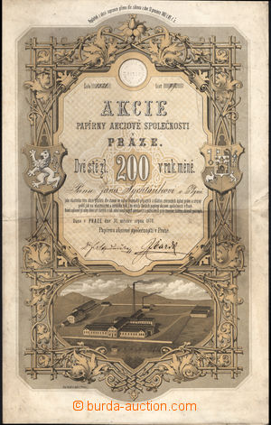 166998 - 1872 RAKOUSKO-UHERSKO  akcie na 200 zlatých Papírny akciov