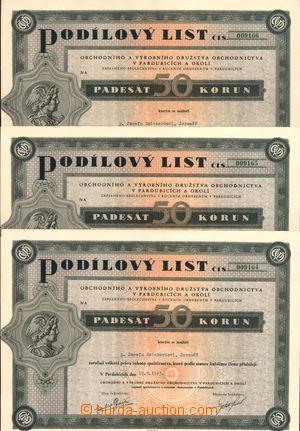 167001 - 1945 ČSR II.  sestava 10ks podílových listů hodnoty 50 K Obc