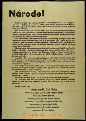 167006 - 1943 ČaM/  PROVOLÁNÍ K NÁRODU  propagandistický protektorátn