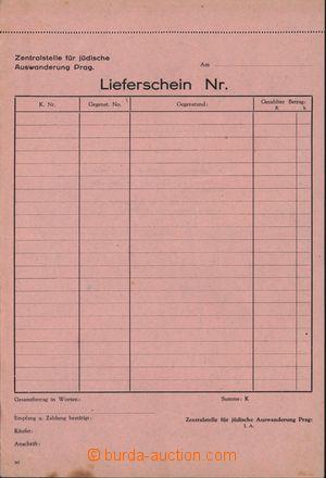 167007 - 1940 ČaM / JUDAIKA  nepoužitý formulář Lieferschein Židovské