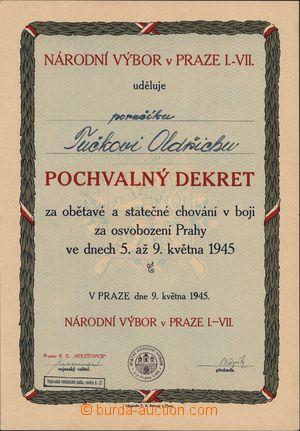 167010 - 1945 ČSR / PRAŽSKÉ POVSTÁNÍ  pochvalný dekret udělený Národn