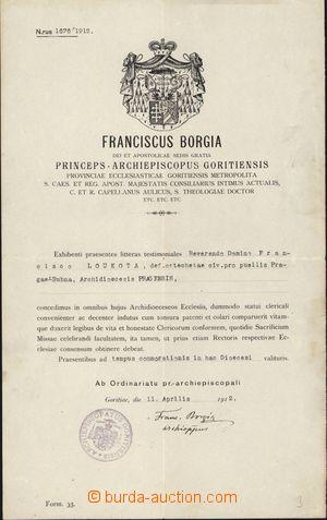 167018 - 1912-35 LEV SKRBENSKÝ Z HŘÍŠTĚ (1863-1938), kardinál, arcibi