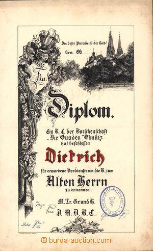 167213 - 1900-1918 diplom buršáckého spolku Quaden v Olomouci; pamětn