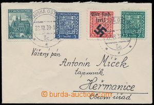 167309 - 1939 dopis malého formátu zaslaný do Heřmanic, vyfr. předběž