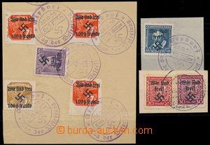 167344 - 1938 RUMBURG  sestava 3ks výstřižků s vylepenými zn. Mi.3, 5