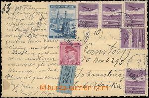 167707 - 1939 Let pohlednice zaslaná do Jižní Afriky, vyfr. smíšenou