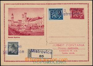 167754 - 1945 obrazová dopisnice Znak 1,50K zaslaná jako R do Prahy,