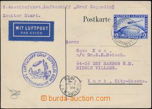 167764 - 1929 1. AMERIKAFAHRT 1929  Let-lístek do USA, vyfr. zeppeli