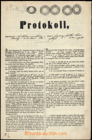 167877 - 1850 FJ I./  dvojjazyčně tištěný nájemní protokol s 5 kolky