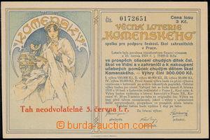 168013 - 1925 MUCHA Alfons (1860–1939), los věcné loterie Komenského;