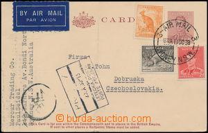 168145 - 1938 SYDNEY - PRAHA, Let-dopisnice 1½p adresovaná do ČS