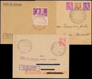 168239 - 1940 sestava 3ks dopisů s PR PP, různé typy, mj. 1x v če