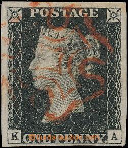 168459 - 1840 SG.2, Penny Black, písmena K-A, červený Maltézský kříž;