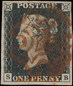 168460 - 1840 SG.2, Penny Black, písmena S-B, prakticky celý hnědo-če