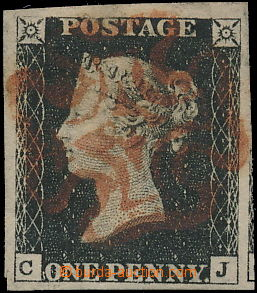 168462 - 1840 SG.2, Penny Black, TD 4, písmena C-J, celý červený Malt