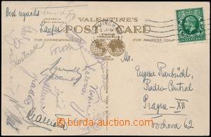 168584 - 1935 FOTBAL  pohlednice Birminghamu s podpisy československé