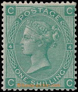 168640 - 1867 SG.115, 1Sh tmavě zelená; průsvitka Spray of rose, svis
