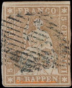 168650 - 1855-56 Mi.13IIAyn/a, Strubel 5Rp hnědá (mittelgrau), bernsk