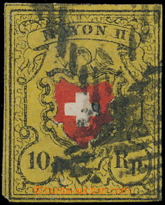 168653 - 1850 Mi.8II, RAYON II, 10Rp černá / oranžovo-červená, bez or
