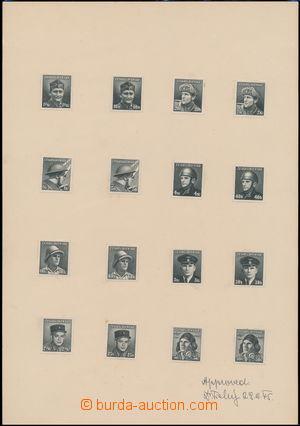 168746 - 1945 ZT  Pof.387-402, kompletní sestava zkusmých tisků Lo