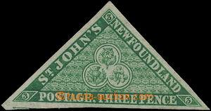 168754 - 1857-1964 SG.3, Heraldické květiny 3P zelená, široký až luxu