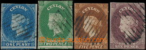 168756 - 1857-59 SG.1, 2, 5, 6, sestava 4 různých hodnot, 1P modrá, 2