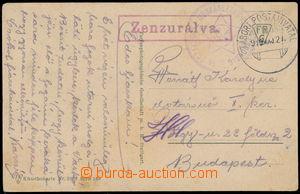 169691 - Staženo1919 cenzurovaná pohlednice s razítkem maďarské PP Ve