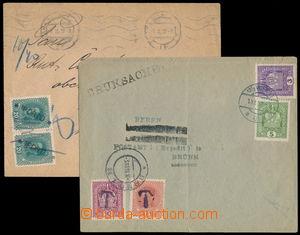 169905 - 1918-19 sestava 2ks celistvostí s provizorními doplatky, 1x