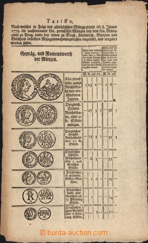 170168 - 1779 MARIE TEREZIE (1740-1780) / tištěné nařizení z 8.1. 177