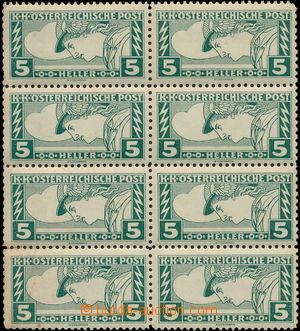 172126 - 1916-17 Mi.220D, Spěšná 5h obdélník, 8-blok s vzácnou perfor