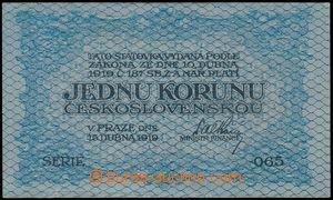 172172 - 1919 Ba.7, hodnota 1Kč modrá, série 065, bez přehybů, drobná