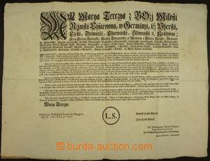 172328 - 1759 MARIE TEREZIE (1740-1780) / tištěný mincovní cirkulář o