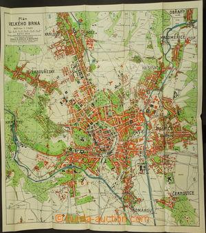 172360 - 1929 BRNO - kolorovaná mapa města + seznam ulic, vydal Bar