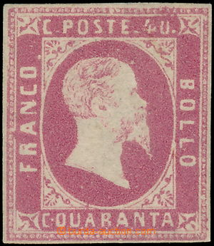 172361 - 1851 Sass.3, Viktor Emanuel II. 40C růžová, bezvadný střih,