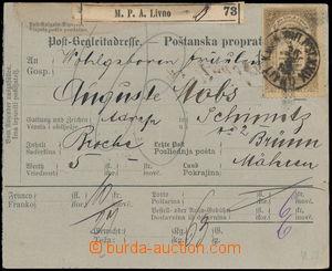 172441 - 1892 poštovní průvodka bez levého útržku adresovaná do Brna,